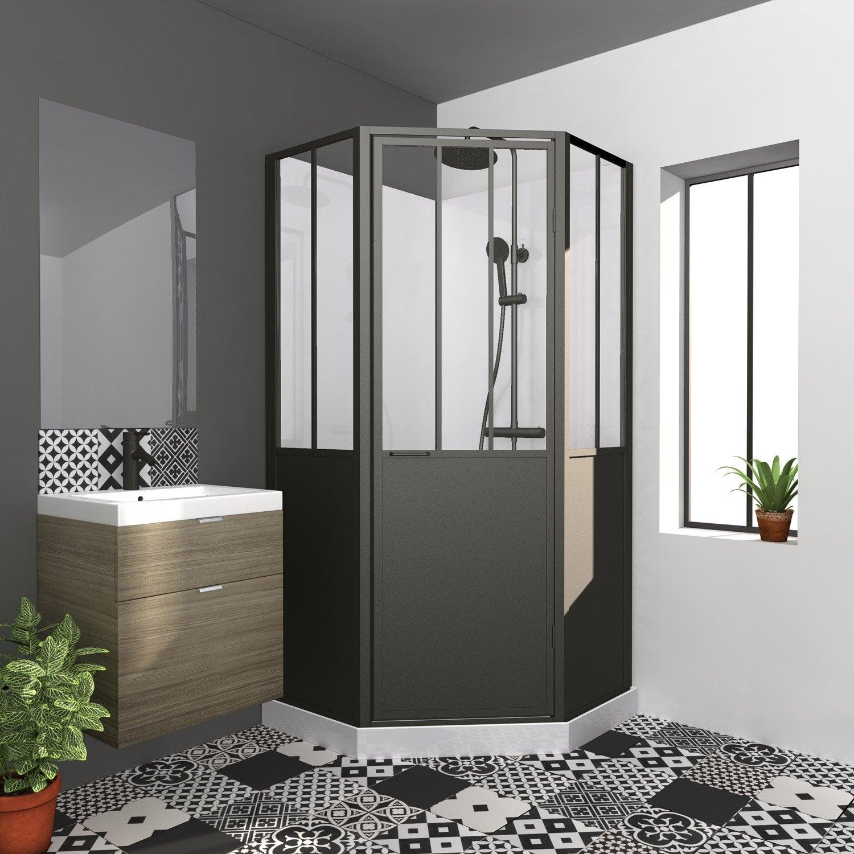 Cabine de douche 1/4 de cercle L.100 x l.100 cm, Atelier | Leroy Merlin