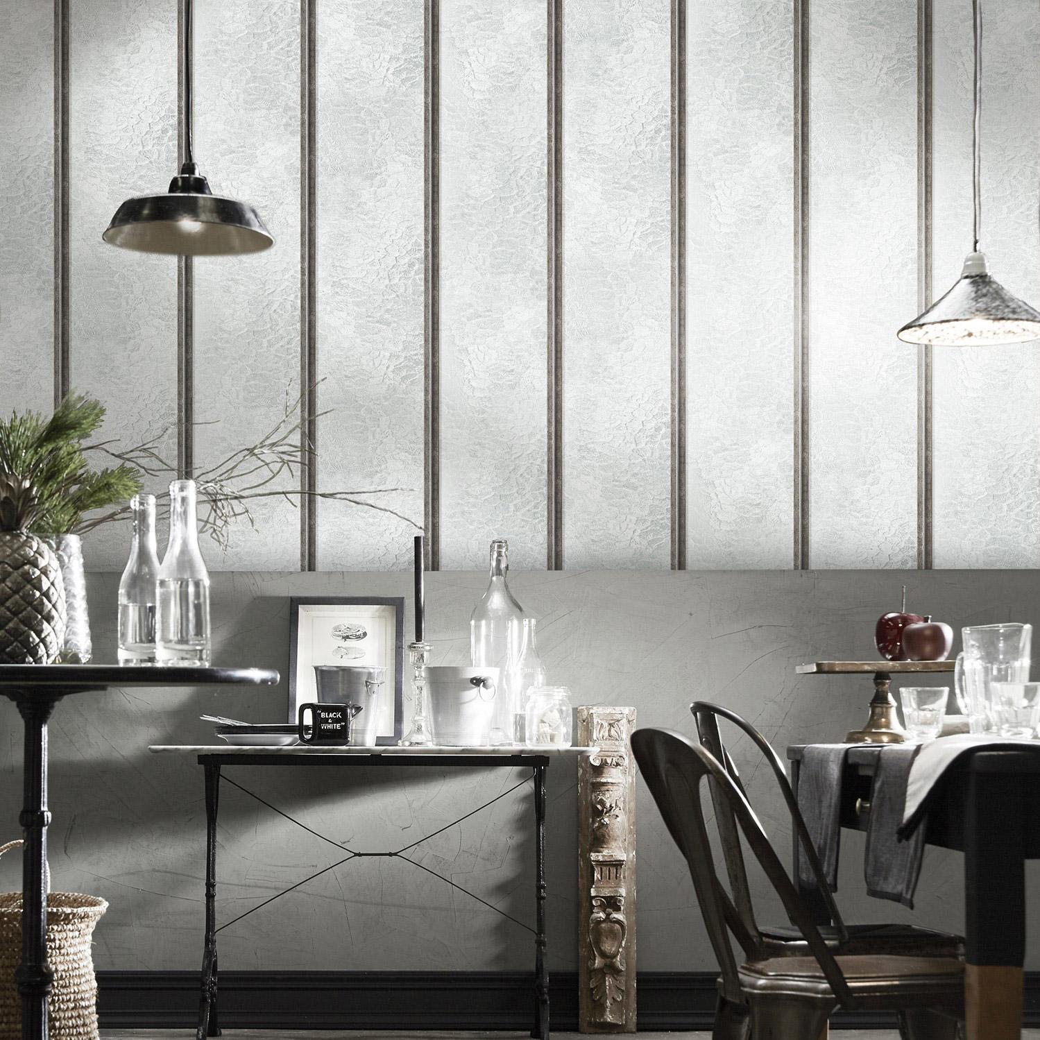Papier Peint Style Atelier papier peint vinyle verrieres atelier verticales acier brossé