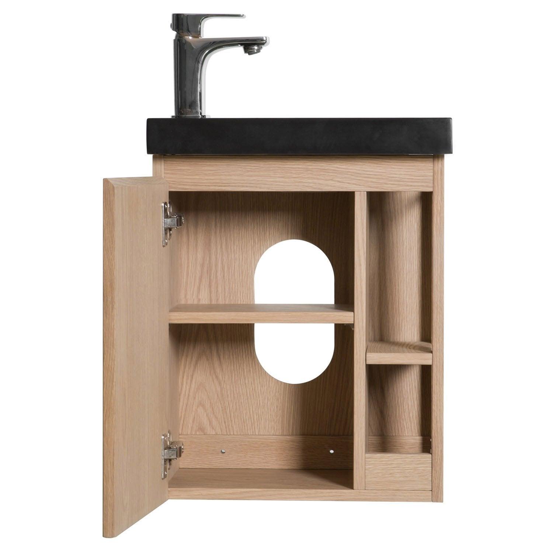 Comment Installer Un Lave Main Avec Meuble meuble lave-mains, flynn l.40 x h.48 x p.22.5 cm, chêne naturel, flynn
