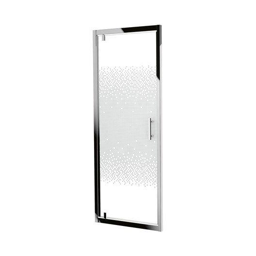 porte de douche pivotante sensea elyt verre s rigraphi profil chrom 90 cm leroy merlin. Black Bedroom Furniture Sets. Home Design Ideas