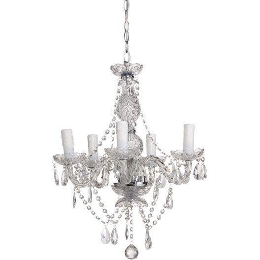 lustre baroque vienna verre transparent 5 x 40 w sampa helios leroy merlin. Black Bedroom Furniture Sets. Home Design Ideas