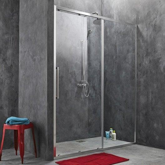 Porte de douche coulissante 167 5 170 5 cm profil chrom - Porte coulissante en verre chez leroy merlin ...