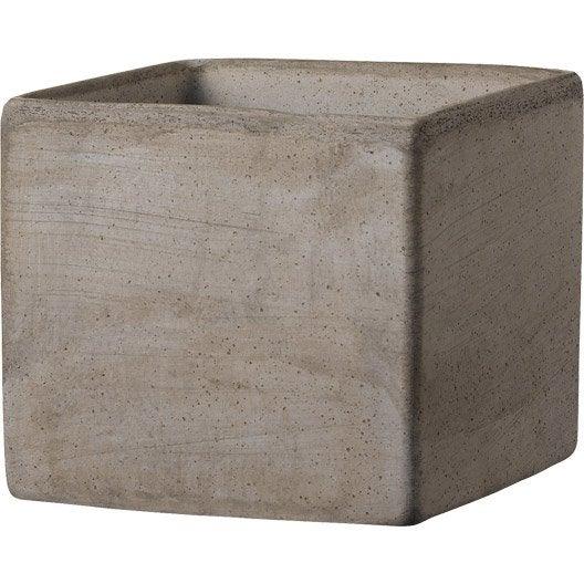 Cube terre cuite DEROMA Diam.23.5 x H.20 cm terre cuite grise