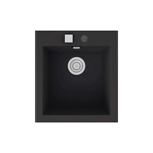 Evier encastrer quartz et r sine noir shira 1 cuve for Evier noir 80 cm