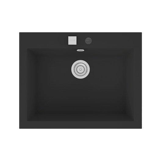 Evier encastrer quartz et r sine noir shira 1 cuve for Evier resine 1 cuve