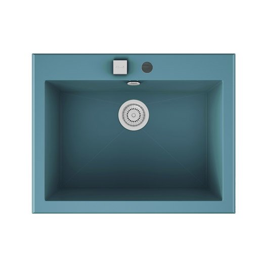 Evier encastrer quartz et r sine bleu shira 1 cuve for Evier 1 cuve resine
