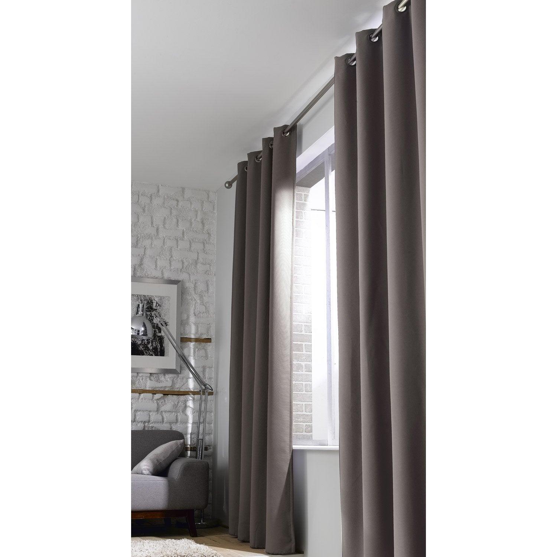 rideau occultant phonique gris taup x cm rideau thermique. Black Bedroom Furniture Sets. Home Design Ideas