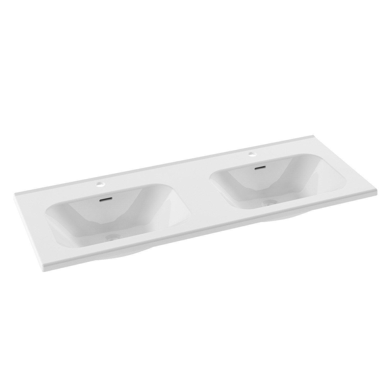 Plan vasque double Opale Céramique 121 cm