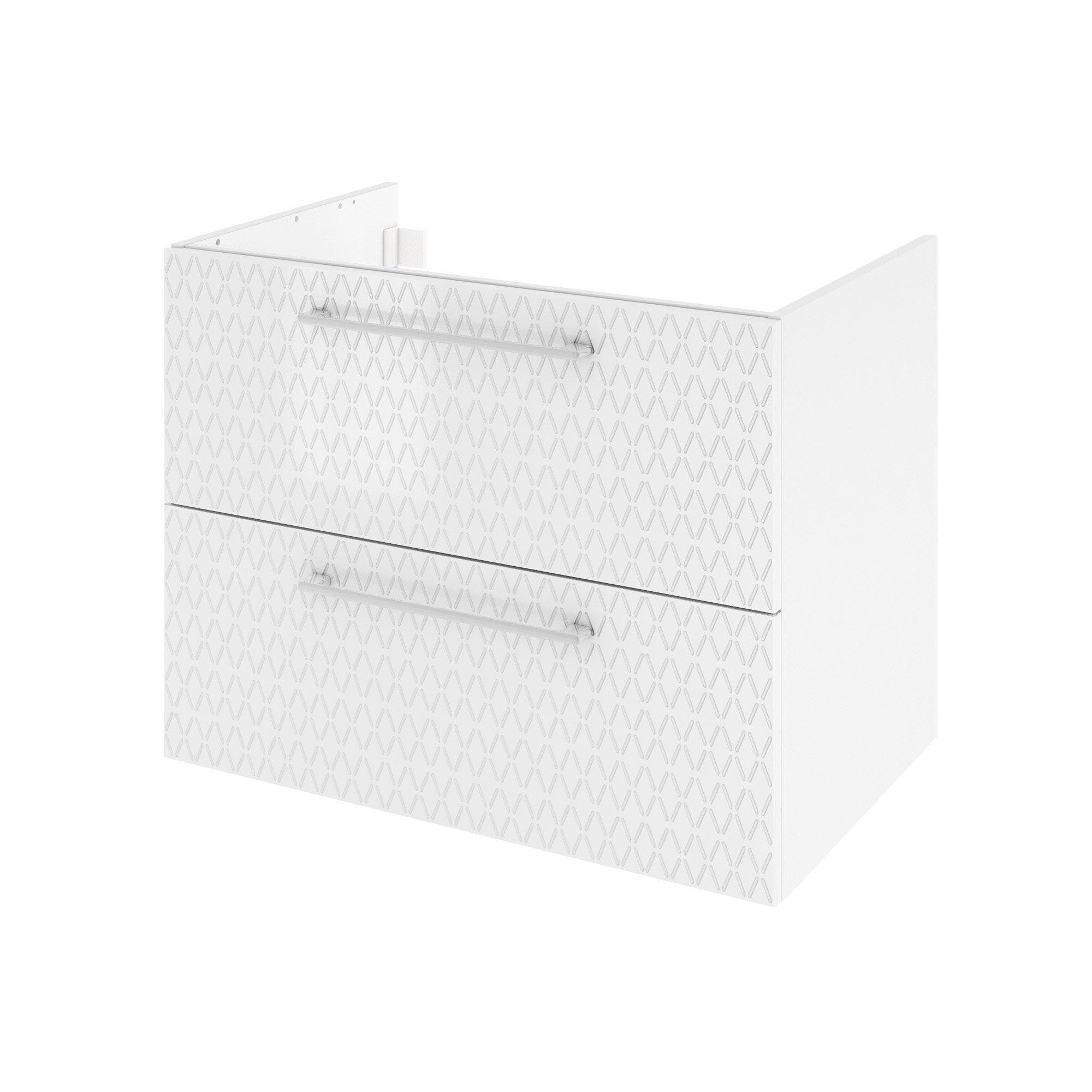 Meuble de salle de bains l.75 x H.58 x P.48 cm, blanc 3d, Remix