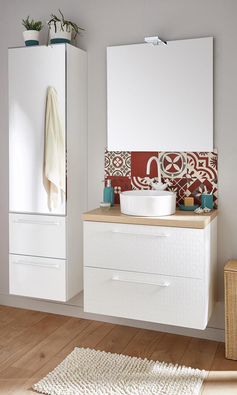 Meuble de salle de bains simple vasque l.20 x H.20 x P.20 cm, blanc 20d,  Remix