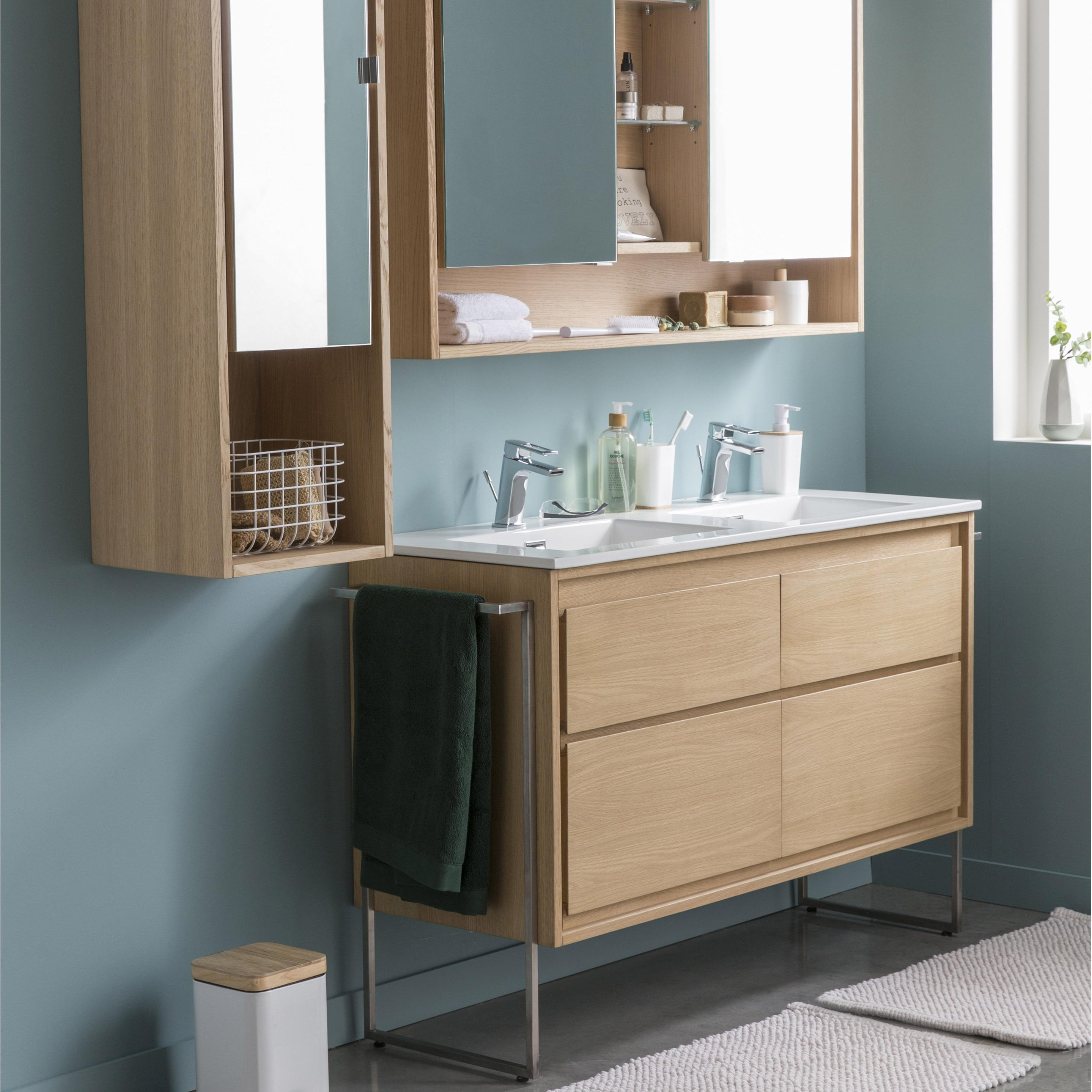Meuble de salle de bains l.119.5 x H.60 x P.45 cm, effet chêne naturel, Storm