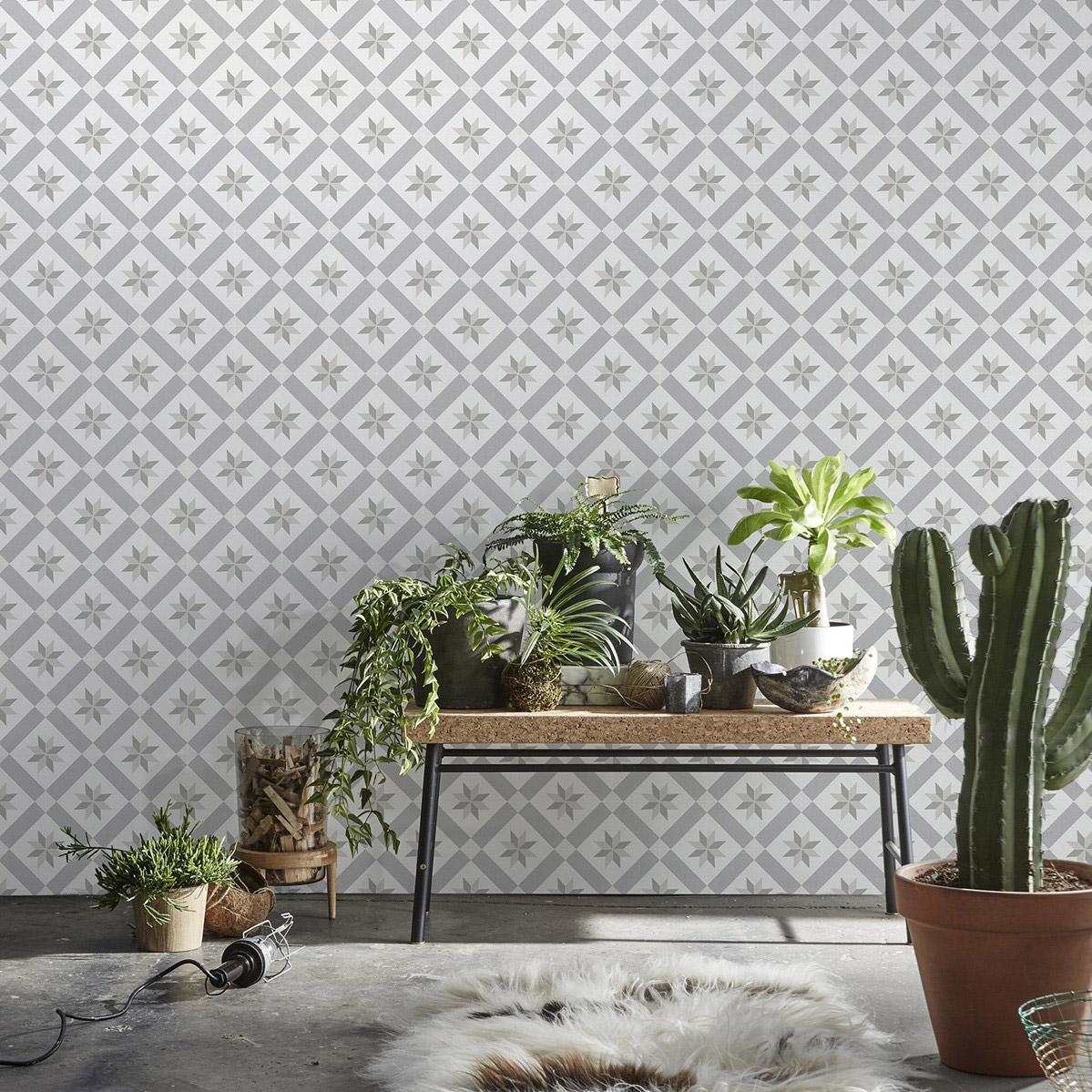 Tapisserie Carreaux De Ciment papier peint intissé carreaux de ciment gris