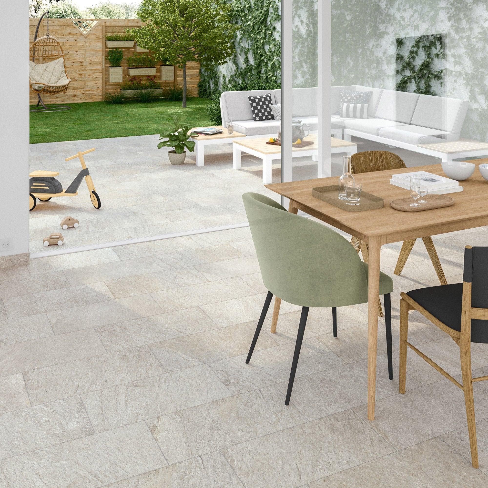Carrelage sol et mur intenso effet ciment beige Island l.30 x L.60 cm ARTENS