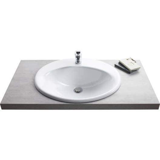 Vasque à encastrer céramique l.56 x P.48 cm blanc Olympe | Leroy Merlin