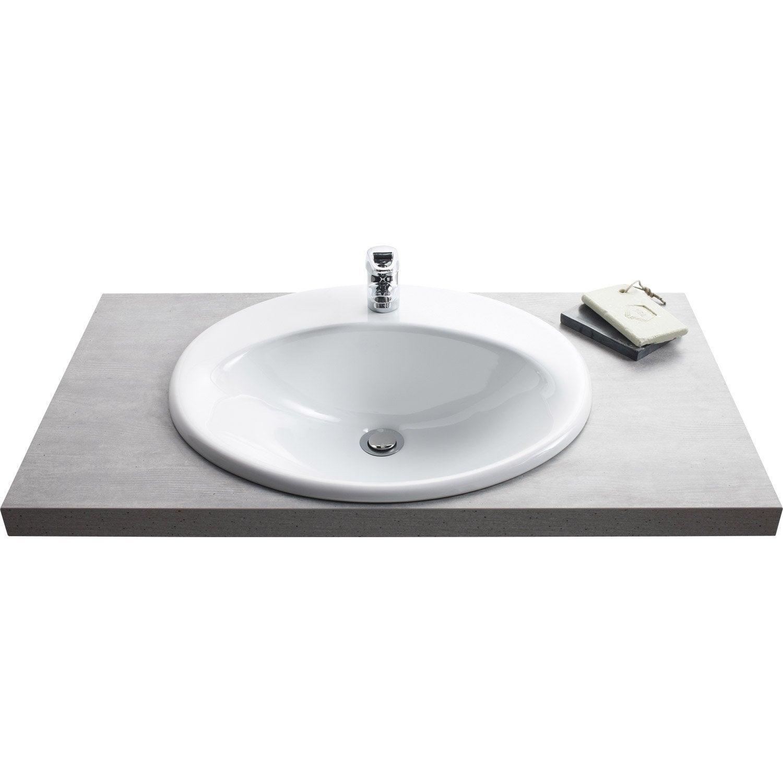 vasque a encastrer Vasque à encastrer céramique l.56 x P.48 cm blanc Olympe