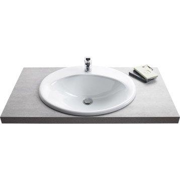 Vasque à encastrer céramique l.56 x P.48 cm blanc Olympe