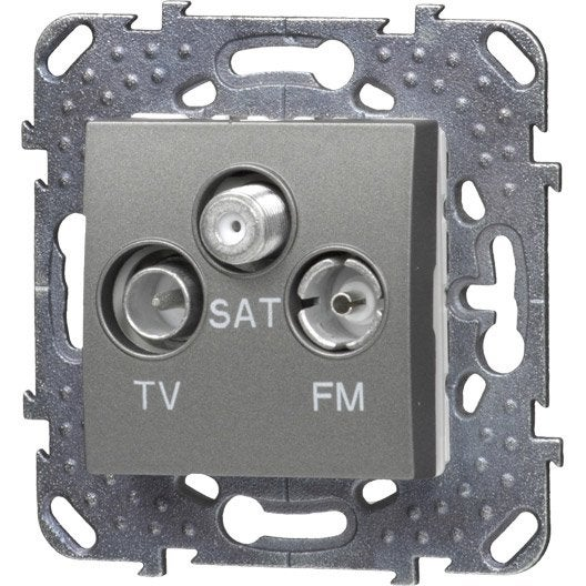 Prise tv fm sat unicatop schneider electric gris - Prise tv sat ...