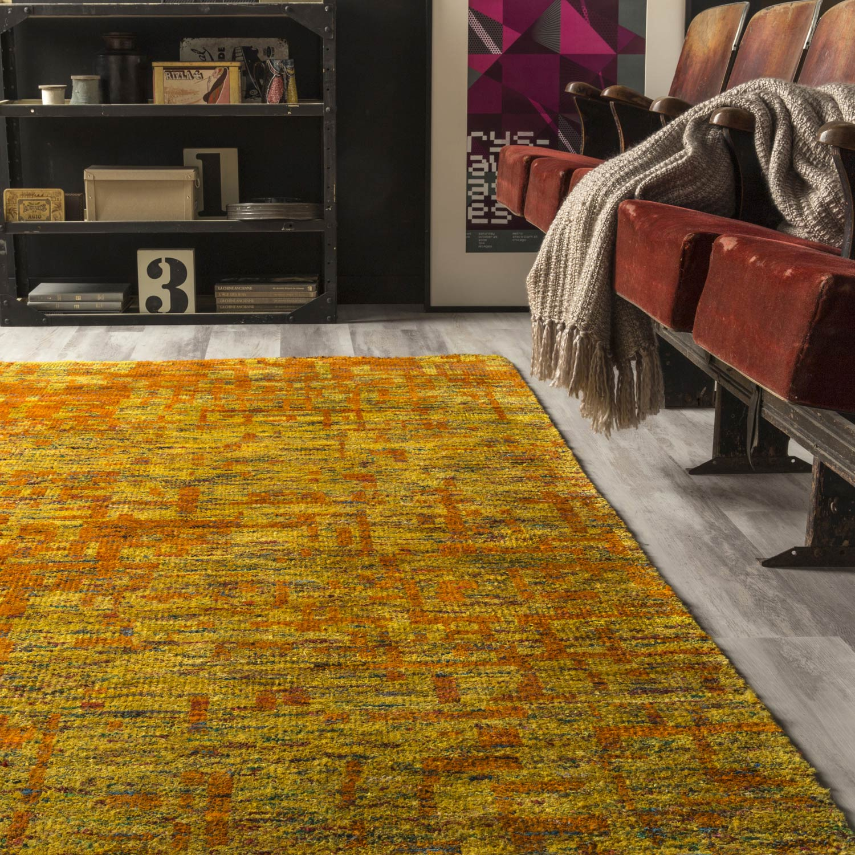 tapis jaune glossy dco l160 x l230 cm - Tapis Deco