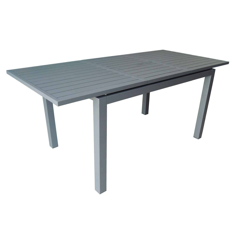 Table de jardin trieste rectangulaire gris 4 6 personnes leroy merlin for Table jardin rectangulaire
