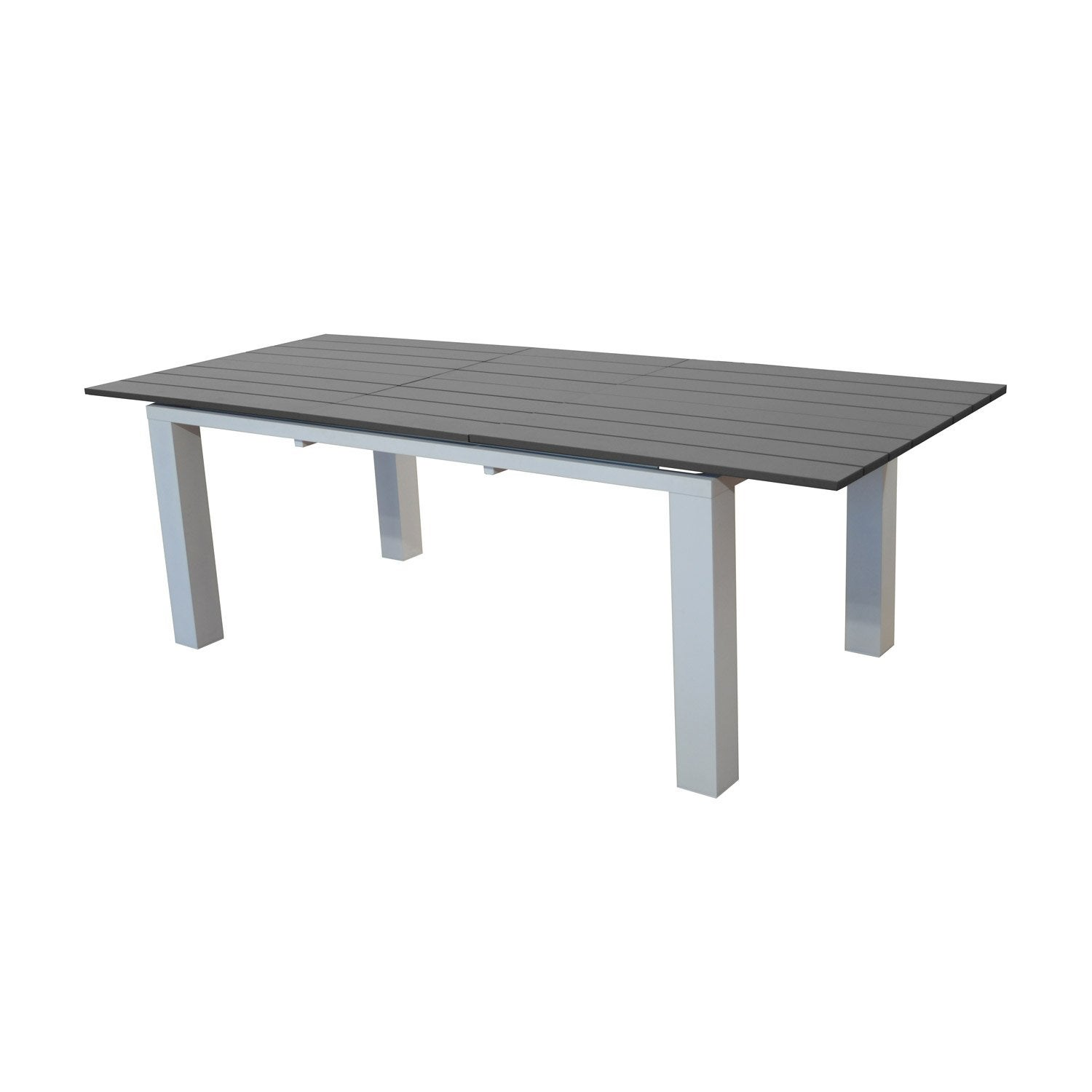 table de jardin elena rectangulaire blanc grey 8 personnes leroy merlin. Black Bedroom Furniture Sets. Home Design Ideas