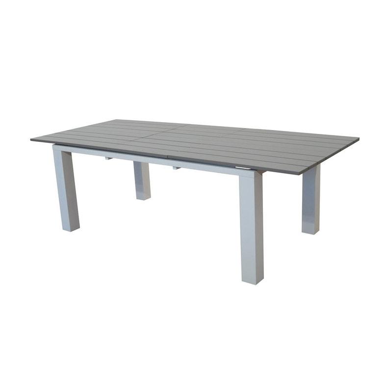 Table de jardin Elena rectangulaire blanc / taupe 8 personnes