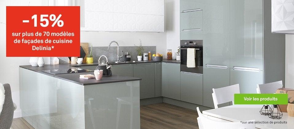 Meuble de cuisine delinia cuisine quip e am nag e modulable moderne bois design ilot - Leroy merlin vannes ...
