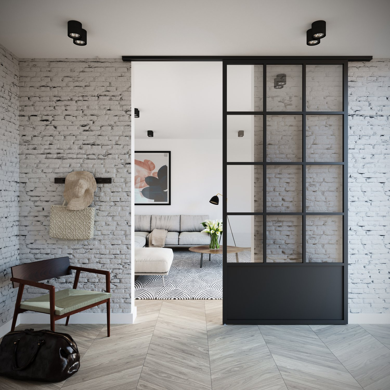 La porte coulissante style atelier d\'artiste dans un intérieur ...