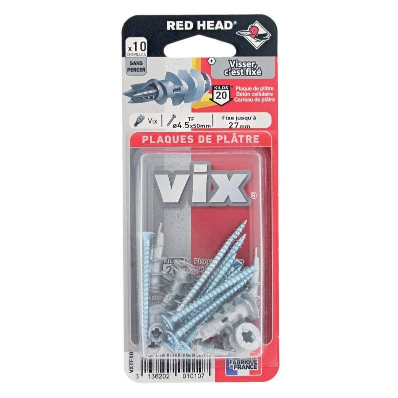 Lot De 10 Chevilles Et Vis à Visser Vix Red Head Diam 12 X L 30 Mm