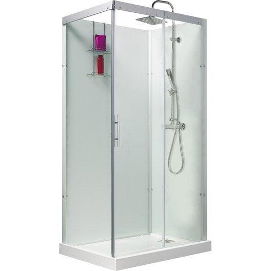 cabine de douche rectangulaire 110x80 cm thalaglass 2 thermo leroy merlin. Black Bedroom Furniture Sets. Home Design Ideas