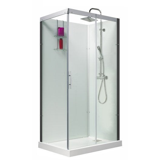 Cabine de douche thalaglass 2 simple thermostatique rectangulaire 110x80 cm - Cabine de douche simple ...
