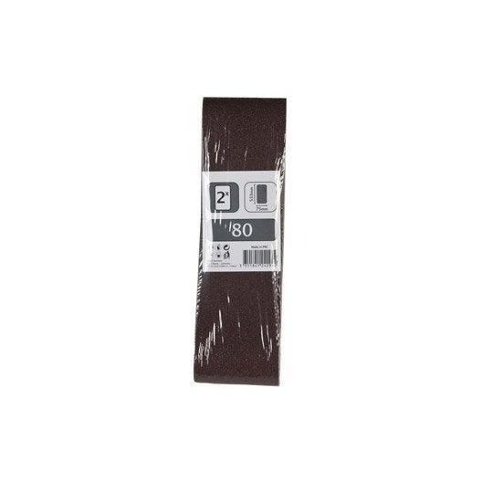 2 bandes abrasives pour ponceuse bande 75x533 mm grains 80 leroy merlin. Black Bedroom Furniture Sets. Home Design Ideas