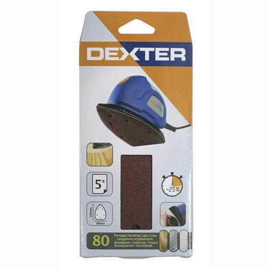 5 patins abrasifs dexter pour ponceuse vibrante 98x140 mm grains 80 - Papier abrasif pour ponceuse vibrante ...