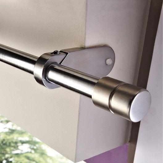 support sans perçage tringle à rideau ib+, 25 mm chromé mat ib+