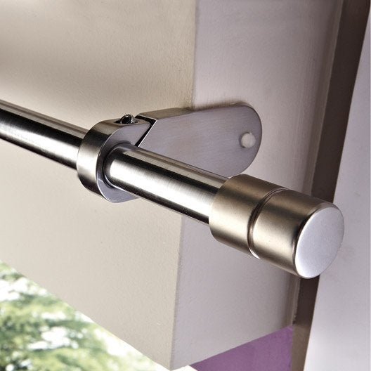 Support sans per age tringle rideau ib 25 mm chrom for Rideau pour baie coulissante