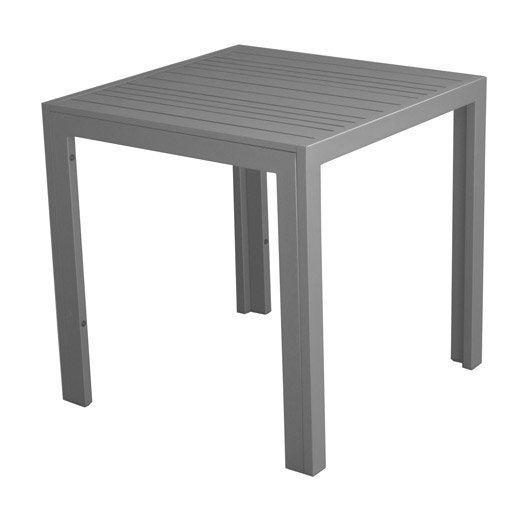 Table basse carr e gris look bois 2 personnes leroy merlin for Table basse carree bois gris