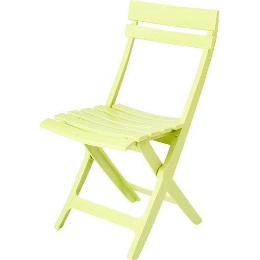 Chaise de jardin en r sine miami couleur vert anis grosfillex leroy merlin - Leroy merlin chaises ...