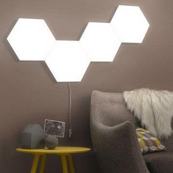 Panneau LED Puzzle, 1 x 10 W, plastique blanc, INSPIRE
