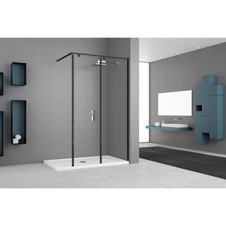 Paroi de douche à l'italienne, l.100 cm Eliseo verre transparent 8 mm noir