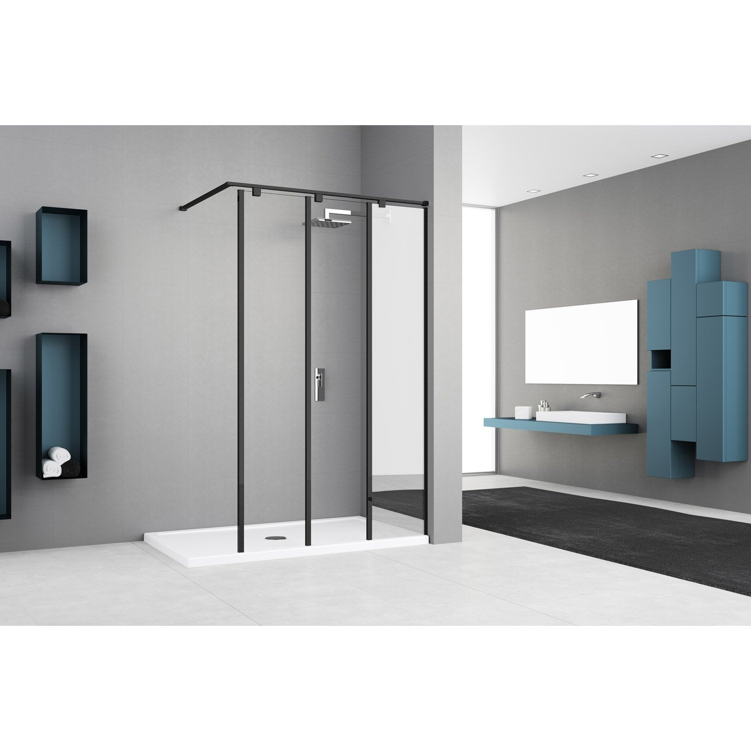 paroi de douche l 39 italienne cm verre miroir et. Black Bedroom Furniture Sets. Home Design Ideas