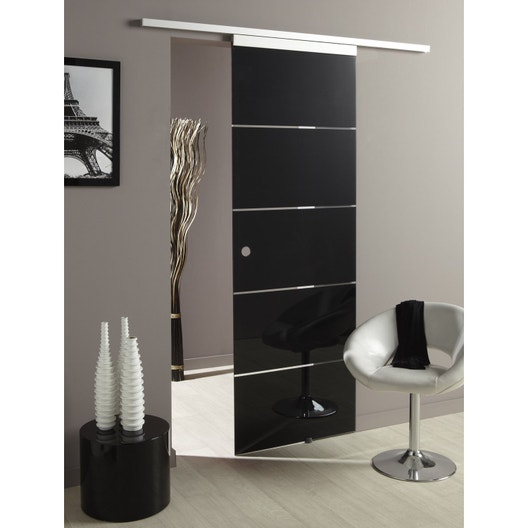 ensemble porte coulissante miami 2 verre 73cm rail. Black Bedroom Furniture Sets. Home Design Ideas