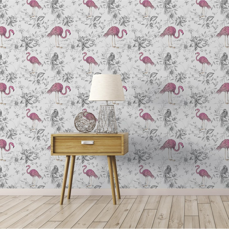 Papier Peint Vinyle Flamants Rose Fond Blanc Leroy Merlin