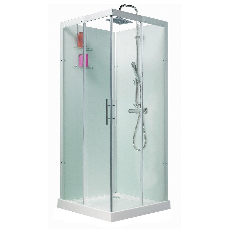cabine de douche carré 80x80 cm, thalaglass 2 thermo | leroy merlin