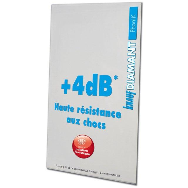 Plaque De Plâtre Ba 13 H250 X L120 Cm Phonique Nf Knauf