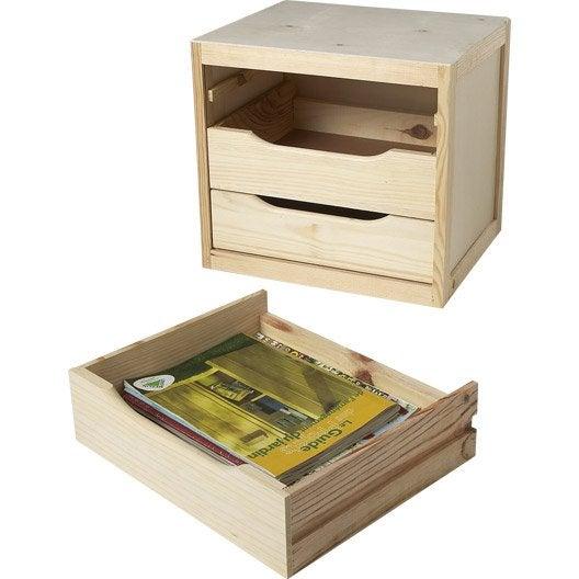 Bloc tiroir pin , l.39 x P.30 x H.29.5 cm
