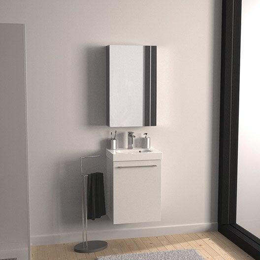 Meuble de salle de bains Remix blanc blanc n°0 46x35.5 cm, 1 porte