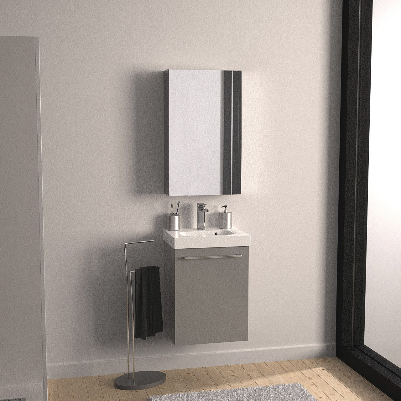 meuble salle de bain remix gris