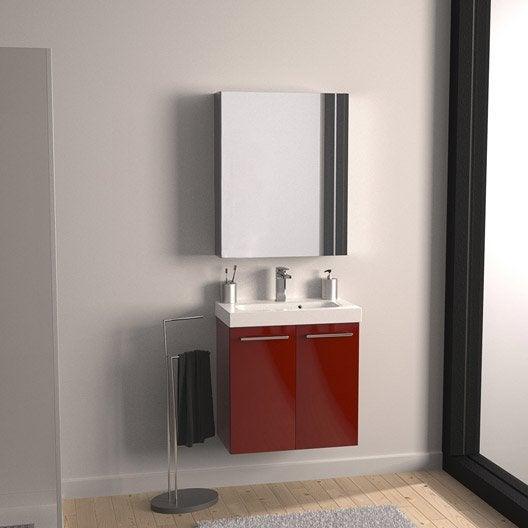 meuble de salle de bains remix rouge rouge n 3 61x35 5 cm 2 portes leroy merlin. Black Bedroom Furniture Sets. Home Design Ideas
