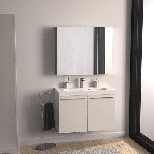 Meuble sous-vasque l.91 x H.57.7 x P.33 cm, blanc, SENSEA Remix ...