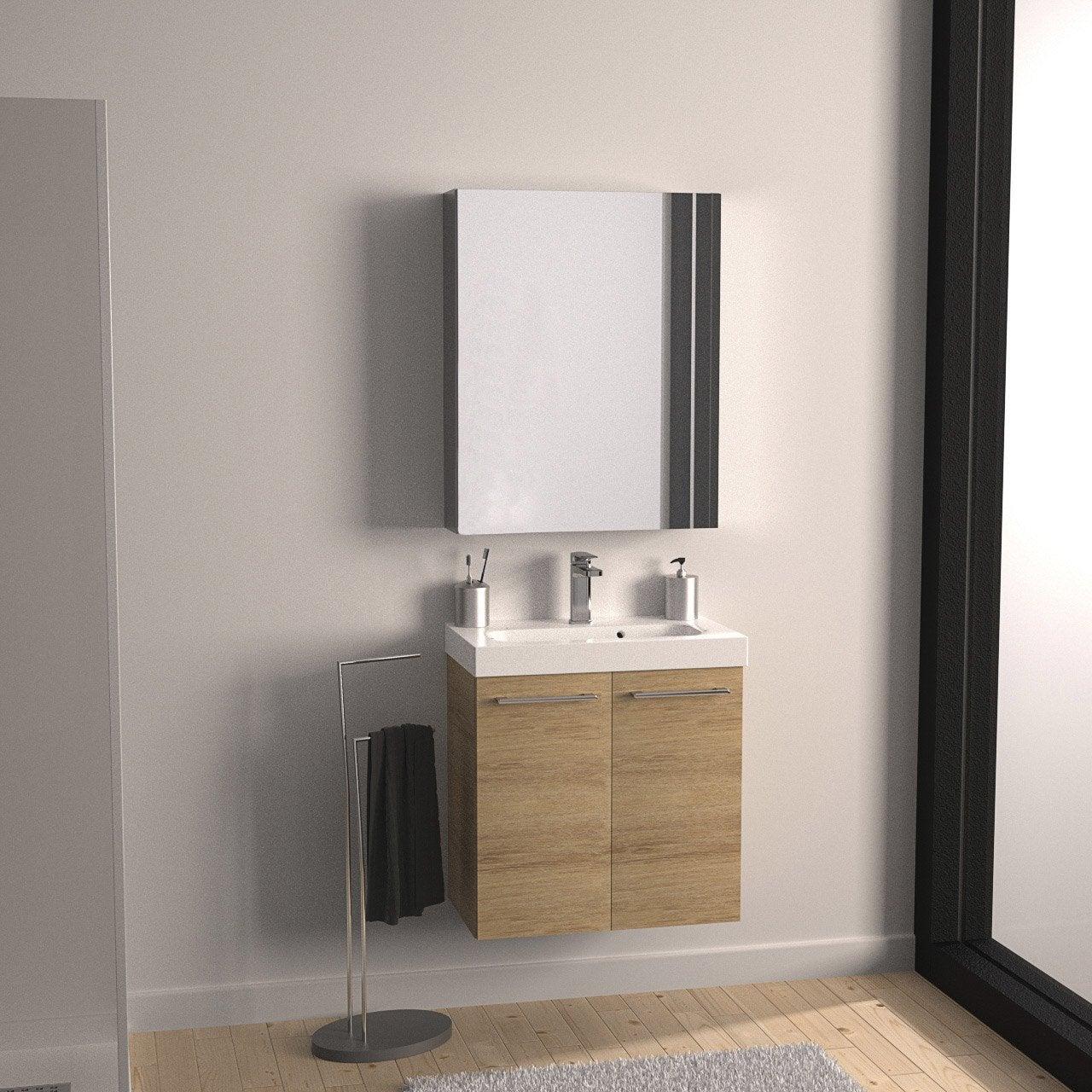 Meuble vasque 61 cm décor imitation chªne clair Remix