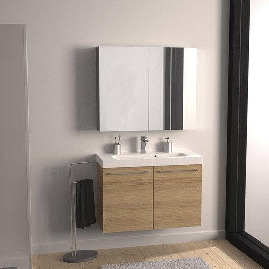 Meuble de salle de bains remix imitation ch ne 61x35 5 cm 2 portes leroy merlin - Meuble salle de bain remix ...